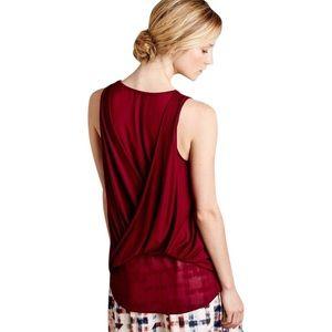 Ro & De wrap drape burgundy tank